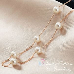 18K Rose Gold Plated Exquisite Simulated Pearl Strand Necklace Fashion Jewellery