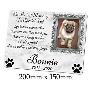 Large Memorial Metal Plaque for a Dog. Personalised with photo. Garden, Grave