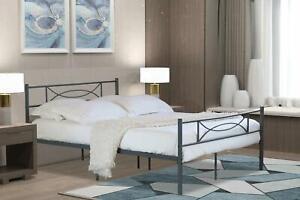 Dark Grey Metal Frame 3ft Single Childrens Bed Slatted Support Kids Bedframe