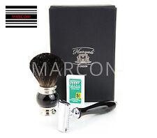 Mens Gift Set Black Shaving Set Brush Shaver DE shaving razor Brush in Gift Box