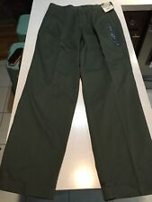 NOS DUCK HEAD chino Pants Khakis Olive 32 31 Pleated Cuff 90s Trad Preppy Twill