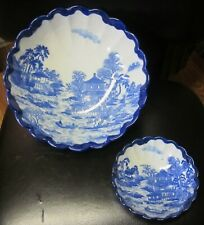VINTAGE 2 FLOW BLUE Scalloped Serving Vegetable Casserole Bowls. Dishes Japan.