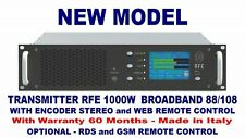 Broadcast Prof 1000w FM Stereo RDS GSM-Rc Transmitter Wide Band 88 108 Mhz NEW