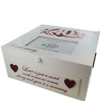 40th Wedding Anniversary Memory Box Keepsake Chest Wood Photo Frame Gift F1714B