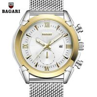 BAGARI Men's Fashion Mesh Strap Watch Roman Numerals Dial Quartz Wristwatch Gift