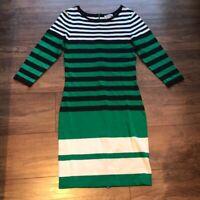 Katherine Barclay Montreal green striped dress 3/4 sleeve dress size xs