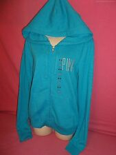 NEW Victoria's Secret Pink Blue Embroidered Logo Zip Hoodie LOVE Fall Winter M
