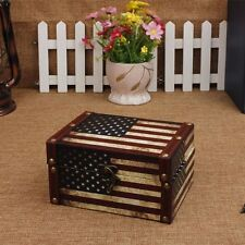 New Decorative Keepsake Trinket Jewelry Chest US Flag Vintage Wooden Storage Box