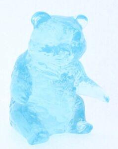 Mosser Art Glass Teddy Bear Paper Weight Ice Blue