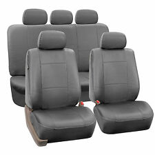 Premium PU Leather Gray 2 Row Full Set Seat Covers Split Bench Air Bag Safe Car