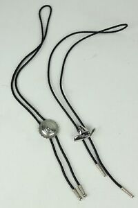 2 Vintage Generic Faux Leather Western Cowboy Style Bolo Ties