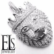 King Lion Crown Panther Pendant Charm 14K White Gold/925 Sterling Silver Cz