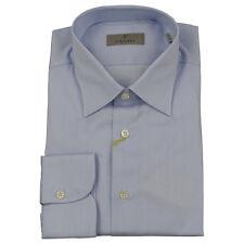 Canali Chemise pour hommes Blanc/Bleu Aiguille rayure neuf avec étiquette UK 43