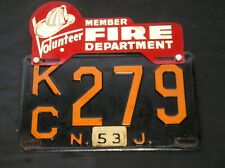 1953 Volunteer Member Fire Department License Plate Topper on NJ License Plate