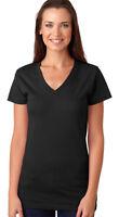 LAT Women's V Neck Collar 100% Cotton Longer Length T-Shirt, 3-Pack. L3607