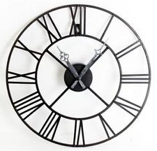 Black Metal Frame Roman Numeral Skeleton Wall Clock Vintage Style Hands 40cm