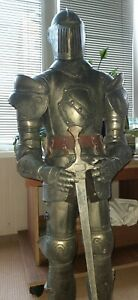 """Vintage Soviet Big Knight in Armor 40"""" Hands Movable! Handcrafted from Steel 80s"""