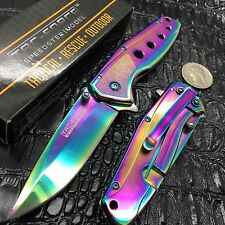 TAC-FORCE Rainbow Straight Assisted Folding FRAMELOCK Pocket Knife! TF-926RB