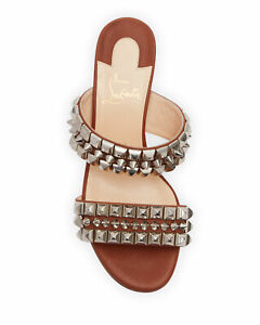 NIB LOUBOUTIN TINA GOES MAD 55 BROWN LEATHER SPIKES STUDDED MULES PUMPS 40.5