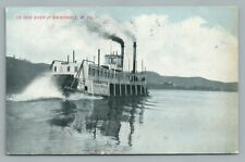 Paddle Boat Steamer SISTERSVILLE West Virginia—Ohio River Antique Ship 1908