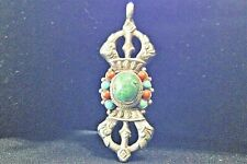 Antique East Asian Sterling Turquoise Coral Pendant Cultural Ethnic Tribal