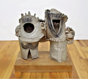 Harold Nosti  Abstract Man & Woman, Glazed and Fired Clay Sculpture Mid Century