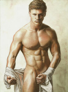 PRINT Artwork Drawing Male Nude Gay Interest MCicconneT ~ DESIRED DIRECTION