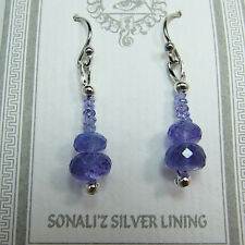 Sparkly Faceted Tanzanite  Sterling Silver Earrings