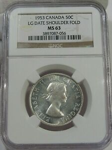 BU 1953 Silver 50¢ Fifty Cent CANADA NGC MS63 Large Date Shoulder Fold Type.  #8