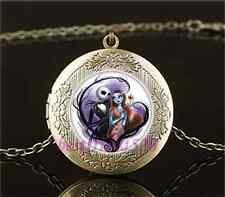 Vintage Jack and sally Photo Cabochon Glass Brass Locket Pendant Necklace