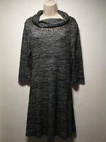 Culture Grey Cowl Neck Long Sleeve Shift Dress - Size 12 (078g)