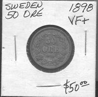 SWEDEN* - BEAUTIFUL HISTORICAL SCARCE OSCAR II 50 ORE, 1898 EB