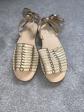 Next Beige And Gold Cage Leg Wrap Sandals Size 8