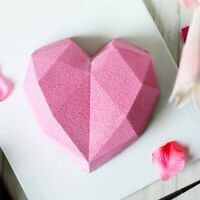 Diamond 3D Love Heart Shape Silicone Mould Cake Decor Mold Kitchen Baking Tools