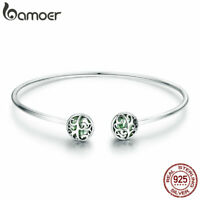 BAMOER Solid S925 Sterling Silver Bangle LIFE TREE With Zircon For Women Jewelry