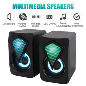 Surround Sound System LED Speakers Gaming Bass USB Wired for Desktop Computer PC