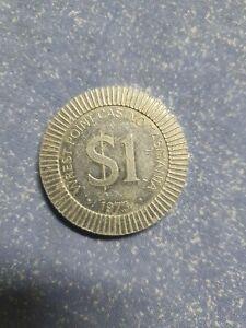 1973 Wrest Point Casino $1 One Silver Dollar POKER CHIP Aluminium Tasmania