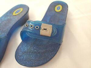 Vintage Womens Plastic Blue Flip Flop Sandals Size 6
