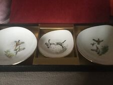 Boxed Set Of Three Crown Staffordshire Dishes,Contrasting Game Birds Decoration