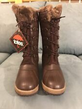 Women Size 10M Totes Gemma Brown Winter Boots Lace Up Brown Laces Faux Fur $100