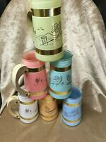 TIKI BAR 6 Siesta Ware Mugs Pastel Colors Wood Handles Mid-century Luau Hawaiian
