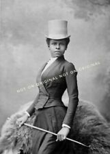 Vintage Old Photo reprint Pretty African American Black Woman EQUESTRIAN hat