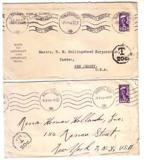 SOUTH AFRICA 1943/4 LOT OF TWO UNDERPAID COVERS TO U.S.A TAX DUE MARKINGS