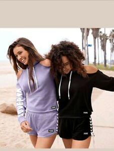 Victoria Secret PINK Retro Cut out Shoulder Pullover Hoodie &  Short L PURPLE