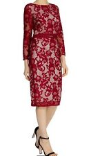 BNWT🌹COAST🌹Size 10 CORALLA Red FLORAL LACE FITTED PENCIL DRESS (38EU) New