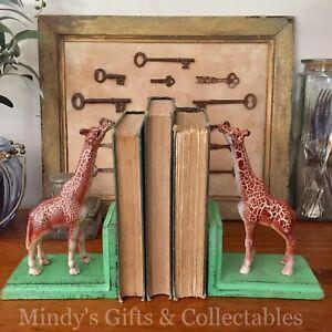 Set of 2 Heavy Antique Style Cast Iron Giraffe Book Ends Bookends Door Stop