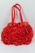 RED ROSE SATIN PURSE EVENING HANDBAG BRIDAL BRIDESMAID WEDDING ROSES PROM NEW!
