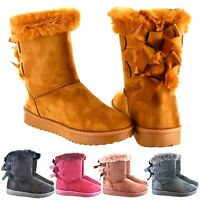 LADIES WOMENS WARM FLAT LOW HEEL ANKLE FUR LINED SNUG BOW SHOES BOOTS SIZE 3-8