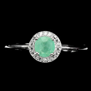 Unheated Round Emerald 5mm Cz 14K White Gold Plate 925 Sterling Silver Ring 9