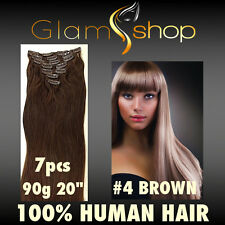 """20"""" CLIP IN STRAIGHT 100% Human Remy Hair extensions 90g #4 Brown clip ins"""